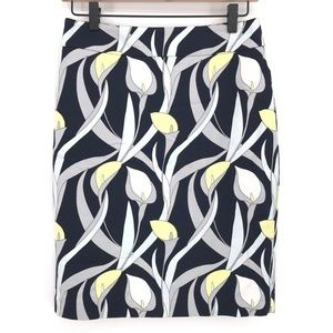 Ann Taylor Calla Lilly Print Pencil Skirt Size 0